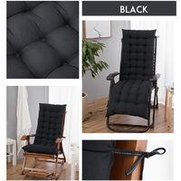 Chaise Lounger Cushion Pad Lounge Rocking Recliner Chair Mat 170x52x8cm Black