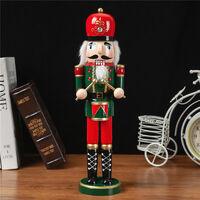 Nutcracker Soldier Wooden Nutcracker Doll Soldier Vintage Handcraft Decoration Christmas Gifts green H