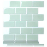 1PC 3D Brick Tile Stickers Bathroom Kitchen Wall Self-adhesive Sticker lightgreen 30.5cm