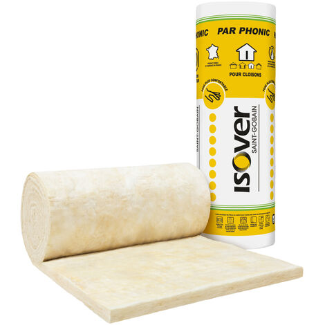 Pack de 2 rouleaux de laine de verre PAR Phonic Pro 45 mm pour l'isolation acoustique des cloisons - 0,6*10,8m – ISOVER