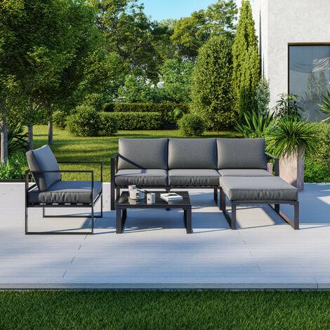 Salon de jardin angle design - 5 Places - ensemble de salon aluminium couleur Gris - VITO - Gris