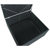 Salon de jardin résine tressée d'angle fonctionnel avec coffre de rangement intégré - noir ecru - FARENZA - Noir