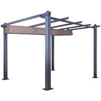 Tonnelle/Pergola aluminium 3x3m toile coulissante rétractable - Gris Taupe - Hero - Gris