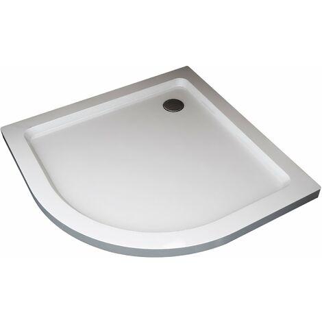 Plato de ducha semicircular rebajado de abs con valvula incluida H.5 cm - 90 x 90 cm