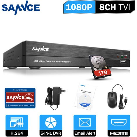 SANNCE 8-Channel CCTV Security Camera System with DVR 5 in 1 – with 1TB harddisk