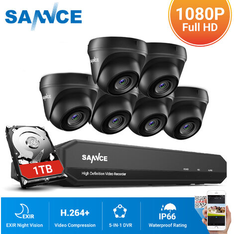 SANNCE 1080P Home Video Security System with 1080P DVR with 6 Cameras Style A - 1TB HDD