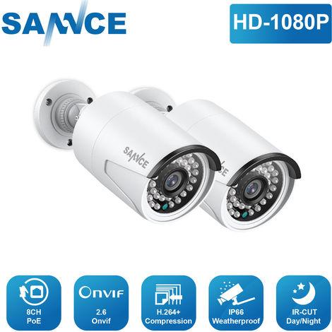 SANNCE 2*1080P HD Weatherproof POE Cameras for N48PBE NVR