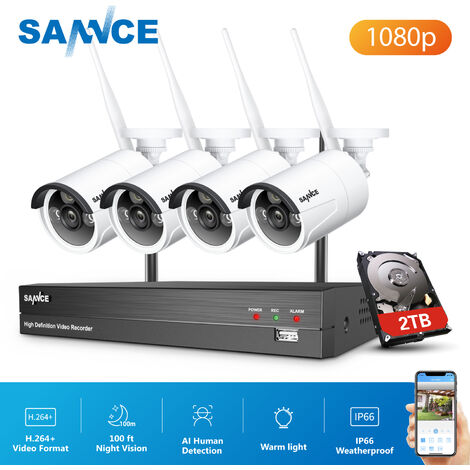 SANNCE 8 Channel WiFi IP Security Camera System with 4 pcs 1080p Outdoor Wireless CCTV Surveillance Cameras AI Human Detection with 2TB harddisk