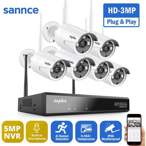 SANNCE 3MP Wireless WiFi Security Camera System with 6 WIFI Cameras – without HDD