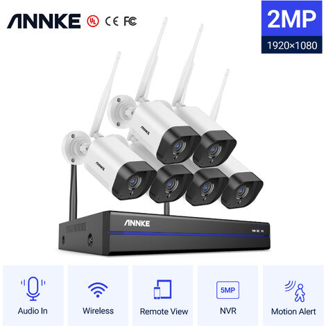 ANNKE 8CH WiFi IP Security Camera System with 6 Outdoor Indoor Wireless Surveillance Cameras 1080p Audio Recording IP66 Waterproof without HDD