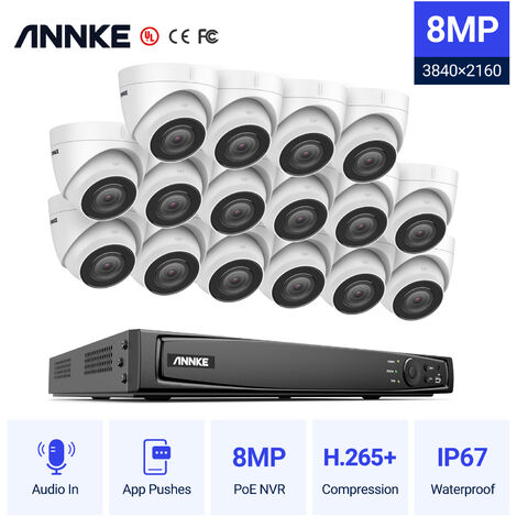 ANNKE 4K Ultra HD PoE 16CH Network Video Security System 4K Surveillance NVR with H.265+ Video Compression + 4K HD Wired Turret Turret IP Cameras 16 Cameras Audio Recording - No HDD