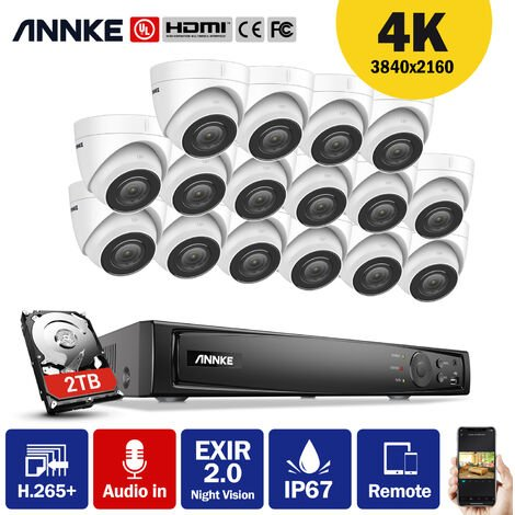 ANNKE 4K Ultra HD PoE 16CH Network Video Security System 4K Surveillance NVR with H.265+ Video Compression + 4K HD Wired Turret Turret IP Cameras 16 Cameras Audio Recording - 2TB