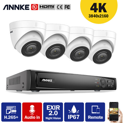 ANNKE 4K Ultra HD PoE 8CH Network Video Security System 4K Surveillance NVR with H.265+ Video Compression + 4K HD Wired Turret IP Cameras 4 Cameras Audio Recording - No HDD
