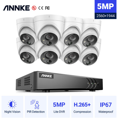 ANNKE 5MP Super HD 5-in-1 8CH DVR Security Camera System with 8 * 5MP Outdoor PIR Cameras - Hard Drive Not Included