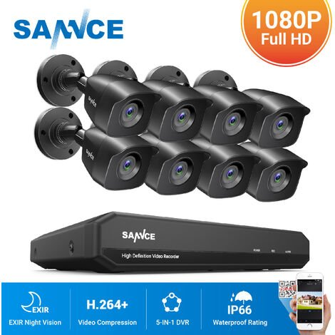 SANNCE 8CH CCTV DVR 8Pcs 1080P Home Outdoor Weatherproof Night Vision Bullet Camera Security - 0TB Hard Drive Disk