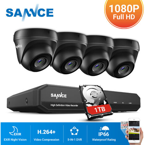 SANNCE 8CH 1080p Security Camera System 5-in-1 CCTV DVR Recorder with 4 pcs Waterproof Wired Surveillance Cameras – with 1TB HDD