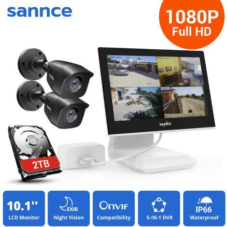 SANNCE 4 Channel 2 Camera CCTV Security Surveillance System Supports ONVIF IP66 Outdoor Waterproof Remote Access Motion Detection – 2TB Hard Drive