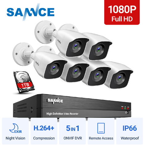 SANNCE 1080p Full HD CCTV DVR Security Camera System with 8CH 5MP Super HD DVR, 100 ft EXIR 2.0 Night Vision, Outdoor/Indoor Video Surveillance Kit 6 Cameras – 1TB HDD