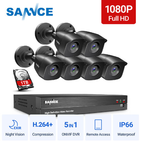SANNCE 1080p HD CCTV DVR Security Camera System with 8CH 5MP Super HD DVR For Home Outdoor Indoor Video Surveillance Kits 6 Cameras – 1TB HDD