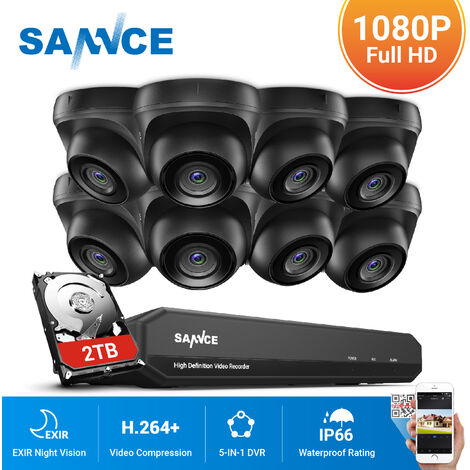 SANNCE 8CH 1080p Security Camera System 5 in 1 CCTV DVR Recorder Waterproof Wired Videosurveillance Kits For Home Outdoor Indoor 8 Cameras – 2TB Hard Drive