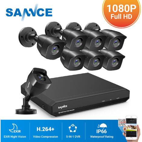 SANNCE 8CH 1080p Security Camera System 5 in 1 CCTV DVR Recorder Wired Waterproof Videosurveillance Kits For Home Outdoor 8 Cameras - No Hard Drive