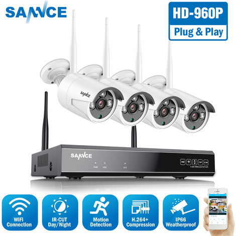 SANNCE 4CH 960P HD NVR Wireless Security System DVR H.264 Video Compression With 4X Bullet Camera - No Hard Drive Disk