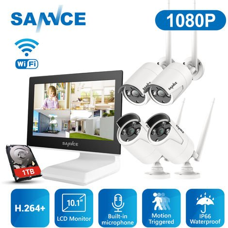 "SANNCE 1080P 4CH HD Wireless NVR CCTV Camera System Build-in 10.1"" LCD Monitor with 4 1280TVL 1.0MP Weatherproof Surveillance IP Camera, Remote Access - 1TB Hard drive disk"