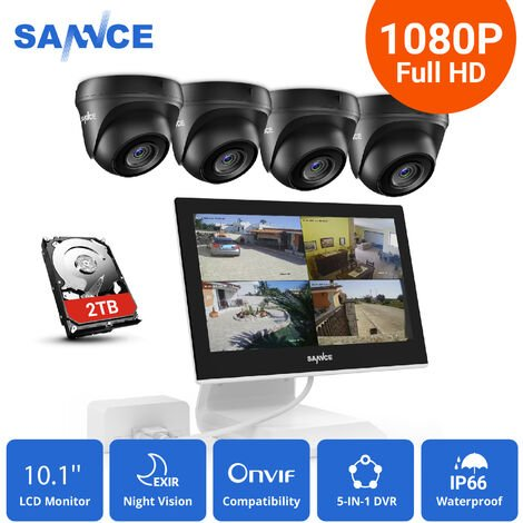 SANNCE 4 Channel Supports ONVIF LCD Monitor DVR CCTV Kits With 1080P Cameras Wired Security Surveillance System For Home Outdoor 4 Cameras – 2TB Hard Drive