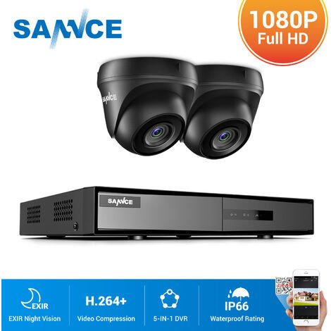 SANNCE 4CH 1080N HD CCTV System 2pcs 720P Outdoor IR Security Camera 4 Channels Video Surveillance DVR Kits - NO Hard Drive Disk