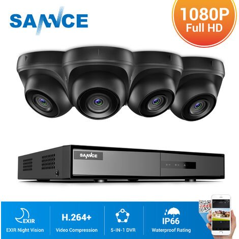 SANNCE 4CH 1080N HD CCTV System 4pcs 720P Outdoor IR Security Camera 4 Channels Video Surveillance DVR Kits - NO Hard Drive Disk
