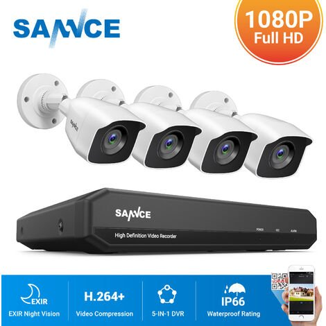 SANNCE 8CH 1080N 720P HD Security System With 4 Weatherproof Night Vision White Bullet Cameras - 0TB Hard Drive Disk