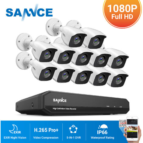 SANNCE 16CH 1080N 720P HD Security System With 12 Cameras - No Hard Drive Disk
