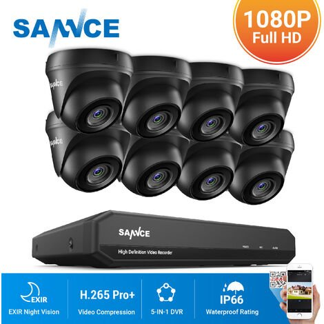 SANNCE 16CH 1080N 720P HD Security System With 8 Dome Cameras - No Hard Drive Disk