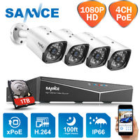 SANNCE 4-Channel 1080P XPoE Network Video Security System (NVR Kit) with 4*1080P cameras – with 1TB HDD