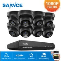 SANNCE 1080P Home Video Security System with 1080P DVR with 8 Cameras Style A - 0TB HDD