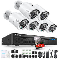 SANNCE 1080P FHD PoE Network Video Security System 8CH 5MP Surveillance NVR with H.264+ Video Compression 6*1080P HD Weatherproof Cameras with Smart IR LEDs, APP Push Alert, Remote Access - with 1TB HDD