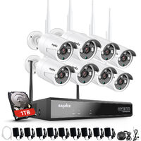 SANNCE 3MP Wireless WiFi Security Camera System with 8 WIFI Cameras – with 1TB HDD