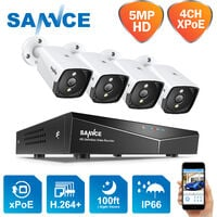 SANNCE 4-Channel 5MP XPoE Network Video Security System (NVR Kit) CCTV kits – without HDD