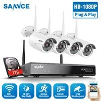 SANNCE 1080P Wireless WiFi Security Camera System with 4 WIFI Cameras – with 1TB HDD
