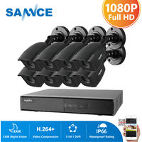 SANNCE 1080P CCTV Security Camera System with 5-in-1 1080P H.264 DVR and 8*1080P HD Security Cameras – without HDD
