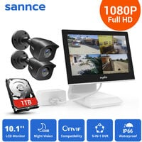 SANNCE 4CH 1080P Video Monitoring System with 10.1'' LCD Combo DVR with 2 cameras – with 1TB HDD
