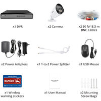 SANNCE 4CH 1080p Security Camera System 5 in 1 CCTV DVR Recorder Wired Cameras 100 ft Night Vision Videosurveillance Kits For Home Outdoor Indoor 2 Cameras - No Hard Drive