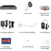 SANNCE 4CH 1080p Security Camera System 5 in 1 CCTV DVR Recorder Wired Cameras 100 ft Night Vision Videosurveillance Kits For Home Outdoor Indoor 4 Cameras - No Hard Drive