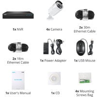 SANNCE 5MP FHD PoE Network Video Security System, 8CH 5MP Surveillance NVR with H.264+ Video Compression, 4*5MP HD Weatherproof Cameras – without HDD