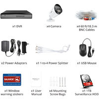 SANNCE 4CH 1080p Security Camera System 5 in 1 CCTV DVR Recorder Wired Cameras 100 ft Night Vision Videosurveillance Kits For Home Outdoor Indoor 4 Cameras – 1TB Hard Drive