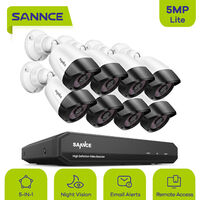 SANNCE 8 Channel 5MP Super HD Wired DVR Security 8pcs Camera System Infrared Night Vision IP66 Surveillance - without harddisk