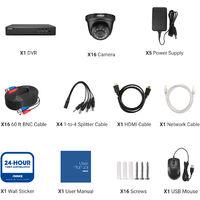 ANNKE 16CH 1080P Lite CCTV System 16pcs 2.0MP Outdoor Security Dome Cameras Night IR Video Surveillance CCTV Kit - No Hard Drive