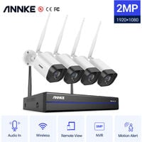ANNKE 8CH WiFi IP Security Camera System with 4 Outdoor Indoor Wireless Surveillance Cameras 1080p Audio Recording IP66 Waterproof without HDD