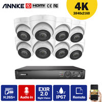 ANNKE 4K Ultra HD PoE 8CH Network Video Security System 4K Surveillance NVR with H.265+ Video Compression + 4K HD Wired Turret IP Cameras 8 Cameras Audio Recording - No HDD