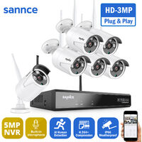 SANNCE 8CH 3MP Wireless Video Security System 5MP HDMI NVR with 6PCS 3MP Wifi Weatherproof IP Camera Surveillance Kit Outdoor 100ft 30m Night Vision - No Hard Drive